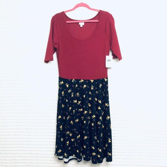 LuLaRoe Dresses & Skirts - LuLaRoe Nicole XL Red Black Floral Pleated Dress
